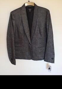Nine West Women's Blazer Metallic Gray UK 18 One Button Collar Tweed