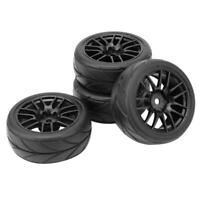 Nuova 4x RC 1/10 Car Wheel Rim & Rubber Tyre Pneumatici Fit HSP HPI 9068-6081