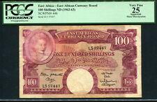 East Africa 1962-1963, 100 Shillings, L5 57447, P44b, PCGS 25 VF