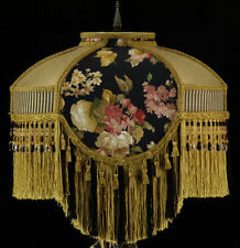 VICTORIAN LAMP SHADE WAVERLY BLACK GOLD SILK FABRIC
