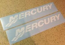"""Mercury Vintage Outboard Motor Decals 12"""" White FREE SHIP + FREE Fish Decal!"""