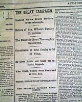 1st BATTLE OF REAM'S STATION Wilson-Kautz Virginia Raid 1864 Civil War Newspaper