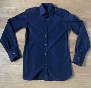 "Tom Ford Formal Dark Navy Shirt 15.5"" 39cm Slim Tailored Fit Rrp £325"