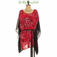 EVANS NORDSTROM ORIENTAL SQUARE KIMONO BELTED RED FLORAL CHIFFON TOP US 16 B39