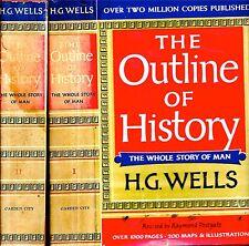 1961 2 VOLUME SET OUTLINE HISTORY H.G. WELLS ILLUSTRATED 200 MAPS ILLUSTRATED