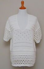 NWT Womens M 12th St Cynthia Vincent Ivory Crochet Short Sleeve Oversize Sweater