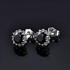 18 kt white gold Round Cut Flower Black Diamond Stud Earrings 2 CT