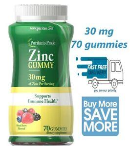70 ct Puritan's Pride Zinc Gummy 30mg Immune System Support Supplement Exp 04/22