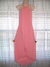 VENUS SOFT PEACH HALTER SHEATH HI-LOW SUNDRESS DRESS~WRAP STYLE OPEN FRONT~LARGE