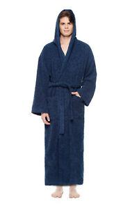 Men's Long Hooded Ankle Length Turkish Cotton Bathrobe Robe