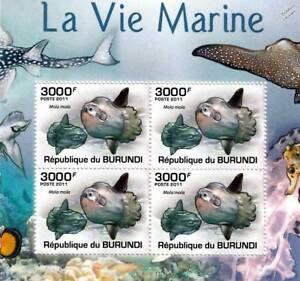 OCEAN SUNFISH Common Mola Fish Marine Sea Life Stamp Sheet #5 of 5 (2011 Burundi
