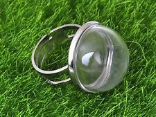 DIY Silver Tone Adjustable Ring with 20mm Clear Glass Dome Terrarium 1/2 Globe