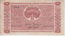 FINLAND BANKNOTE P77-3195, 10 MARKKAA 1945, LITT. B-PREFIX O, FINE