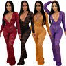 Womens Clubwear Bodycon Rompers Lace Jumpsuit Deep V-neck Playsuit Party Dresses