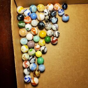 """Lot of 50 Vintage Assorted Swirl Marbles Akro Alley MFC CAC Vitro .51"""" - .68"""""""