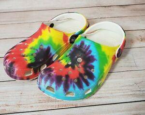 Crocs Classic Tie Dye Women's 10 Men's 8 Slip On Graphic Clog Shoes 205453