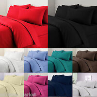 EGYPTIAN COTTON 200/500 THREAD COUNT FITTED SHEET/FLAT SHEET/DUVET COVER BEDSET