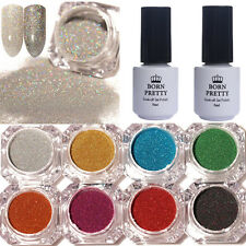 10pcs Nail Glitter Powder Holographic Nail Art Topcoat Base Coat Gel Polish Kit