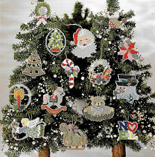 15 CHRISTMAS CROSS STITCH BEADED TREE ORNAMENTS -  VINTAGE PATTERNS
