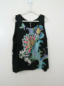 Citron 3X Sleeveless Silk Tank Top Floral Printed Oriental Basic Casual NEW