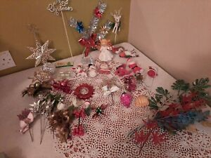 Vintage Retro Christmas Tree Baubles Decorations Kitsch BUNDLE CRAFT tinsel🎄