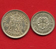 1943 Great Britain 6 Pence & 1938 3 Pence Coins (.500 Silver)