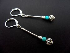 A PAIR OF TIBETAN SILVER & TURQUOISE  BEAD DANGLY LEVERBACK HOOK EARRINGS. NEW.