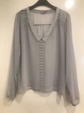 FREE POST ASOS UK Cloud Grey Shirt Size 18 Long Sleeve Blouse Top