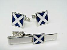 Vintage Men's Jewelry Set Cufflinks Tie Bar Clip Blue White X Design