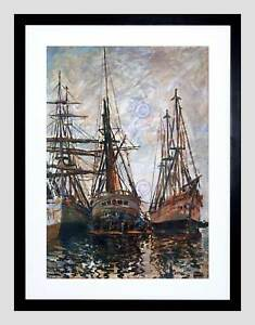 CLAUDE MONET BOATS ON RAPAIR OLD MASTER BLACK FRAMED ART PRINT PICTURE B12X2461