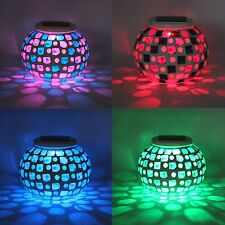 Solar Powered Mosaic Glass Ball Garden Lights Color Changing Solar Lamp