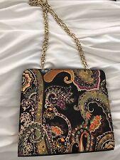Etro Milano Leather Paisley Gold Chain Shoulder Bag Purse Beige Purple Black