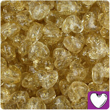 250pc Gold Sparkle 12mm Heart Pony Beads Made in the USA by The Beadery