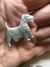 VINTAGE STERLING SILVER NORFOLK Terrier  DOG PIN BROOCH C1940 ENGLISH BY KENART