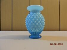 Fenton blue opalescent hobnail small flared vase in mint condition