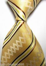 New Classic Stripe Yellow White Brown JACQUARD WOVEN 100% Silk Men's Tie Necktie