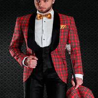 Scottish Plaid Groom Tuxedos for Wedding Prom Mens Suit Black Shawl Lapel Custom
