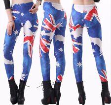 Woman Lady Australian Flag Star Print Blue Stretch skinny Costume Leggings Pants