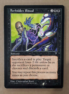 Forbidden Ritual Visions HEAVILY PLD Black Rare MAGIC GATHERING CARD ABUGames