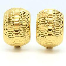 18K Yellow Gold Diamond Cut Clip Earring 3.8 Grams