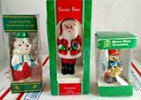 Lot of 3 Vintage European Style Hand Mouth Blown Glass Christmas Tree Ornaments