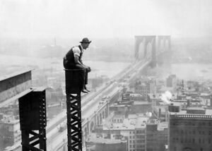 Photo Antique, Worker Skyscrapers New York, Poster Black & White, Decoration