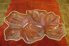 """Exquisite Vintage 15"""" Gold Trimmed Glass 6 Divided Relish Fruit Tray Dish EUC"""