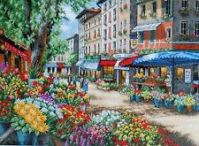 """#35256 DIMENSIONS GOLD """"PARIS MARKET"""" FLOWERS CROSS STITCH KIT - GORGEOUS & NIP!"""