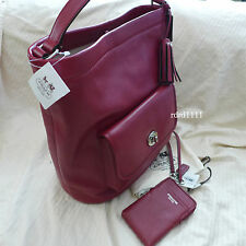 NWT COACH PURSE LEGACY LEATHER RED BUCKET DUFFLE Black Cherry Shoulder Bag+Wrist