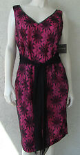 LAURA LEIGH Evening Dress Pink & Black Lace Flowers Sleeveless V Neck Sz 14 NWT