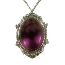Purple Cabochon in Pewter Frame Pendant Necklace Vampire Jewelry  fnt