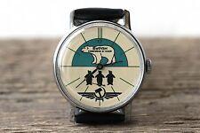 Pobeda Buran Green White Bear Soviet Mechanical Watch qs /Serviced