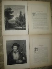 2- 1853 Photogravures Engravings by Painter Sir D. Wilkie-Woodland View/Bagpiper