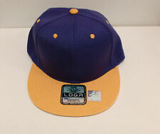 NEW L.O.G.A LOGA Flat Bill Plain Snapback Hat Cap 100% Polyester PURPLE/ GOLD
